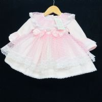 Beautiful Wee Me Baby Girl Pink Spanish Puff Ball Lace Dress Half Sleeve Winter